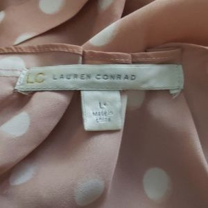 LC Lauren Conrad Tops - LC Lauren Conrad Polka-Dot Pleaded Top